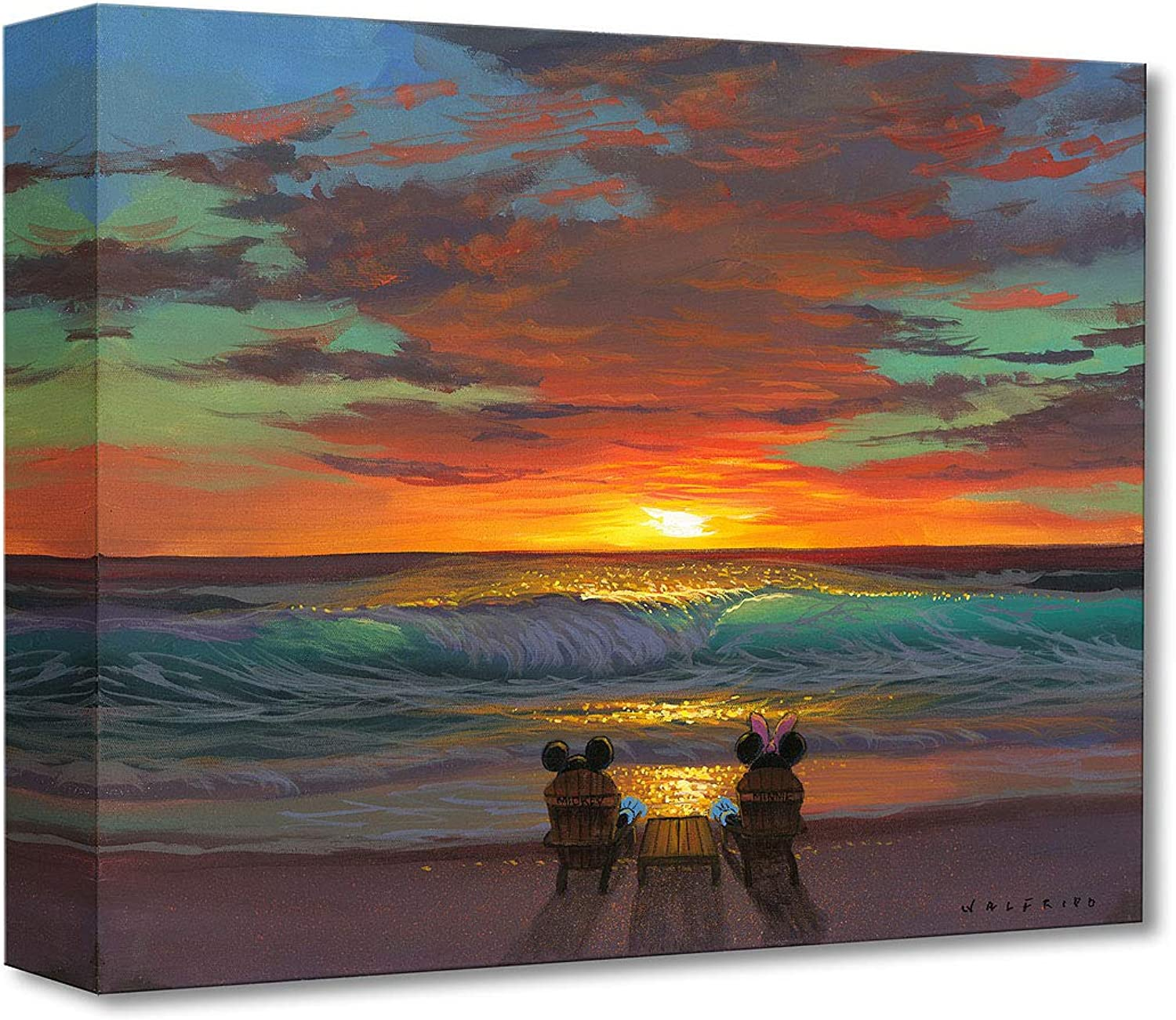 Disney Fine Art Sharing a Sunset by Walfrido Garcia Treasures on Canvas Mickey and Minnie Mouse 12 Inches x 16 Inches Reproduction Gallery Wrapped Giclée on Canvas Wall Art