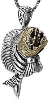 FOOSKOO Collana Pendente Pendente Uomo Collane da Uomo S925 Sterling Silver Piranha Scava con collane a Ciondolo a Catena ...