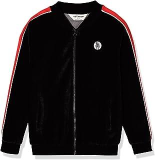 Kid Nation Kids Unisex Cozy Velour Track Zip Up Jacket Long Sleeve Sweatshirt for Boys and Girls 4-12 Years