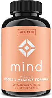 Mind Brain Supplement - Natural Formula to Boost Focus & Memory with Lion's Mane, Ginkgo Biloba, and L-Theanine for Long T...