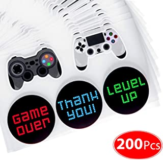 200 Pieces Video Game Controller Stickers for Video Game Party Supplies, Boys Birthday Party Decorations, 5 Styles