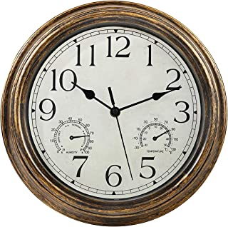 12 Inch Wall Clock with Thermometer and Hygrometer Combo,Vintage Silent Non-Ticking Battery Operated Clock Wall Decorativ...