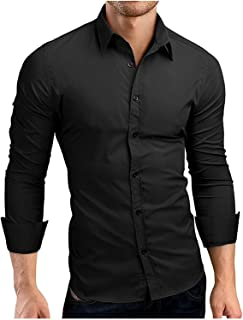 NeeKer Jacket Sleeve Shirts Casual Hit Color Slim Fit Solid Color Men Dress Shirts XXXL MA92