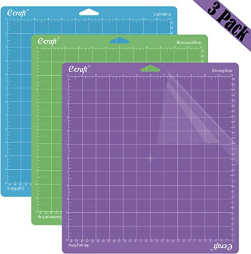 "Ecraft 12""X12"" Cutting Mat For Cricut - Include StrongGrip/StandardGrip/LightGrip (3 pack) Flexible Square Gridded Qu..."