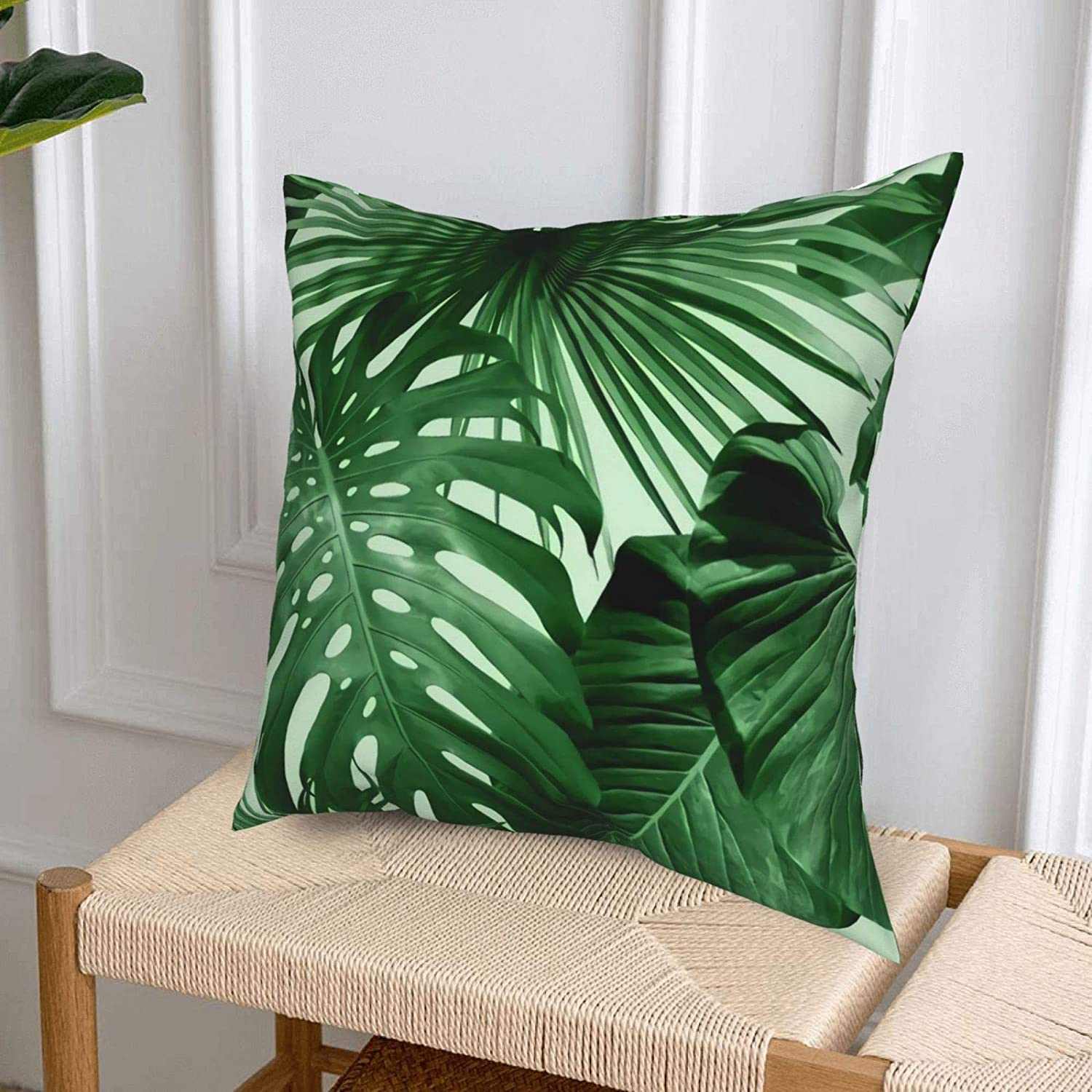 Buy Tropical Palm Leaves Throw Pillow Covers Cushion Soft Square ...