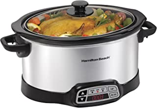 Hamilton Beach 040094336609 Programmable Slow Cooker, Silver, 6-Quart, Stainless Steel (33660)