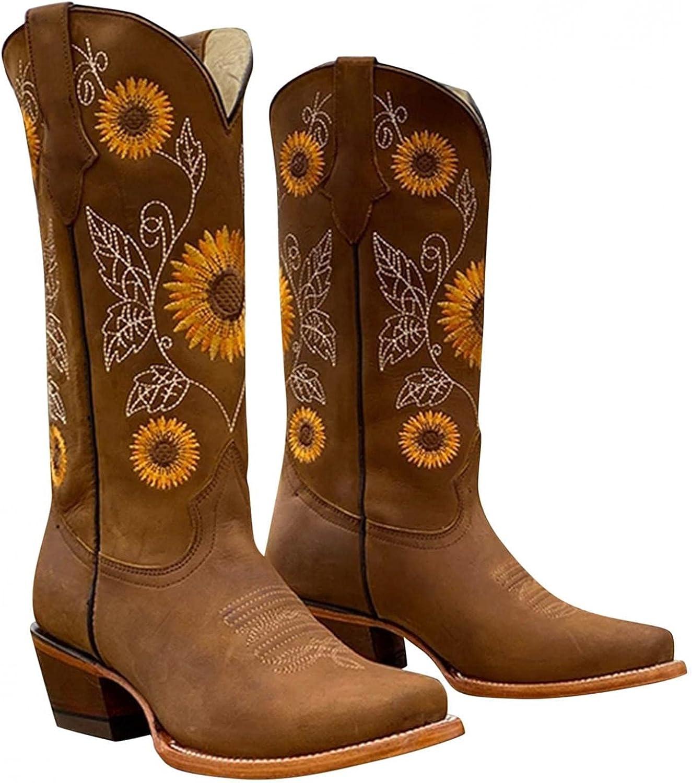 AIHOU Cowboy Boots for Women Western Low Heels Mid-Calf Boots Em