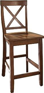 Crosley Furniture X-Back Bar Stool (Set of 2), 24-inch, Classic Cherry