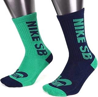 Boys SB Skater High Crew Socks - 2 Pack Green/Navy Blue Youth 10C - 3Y