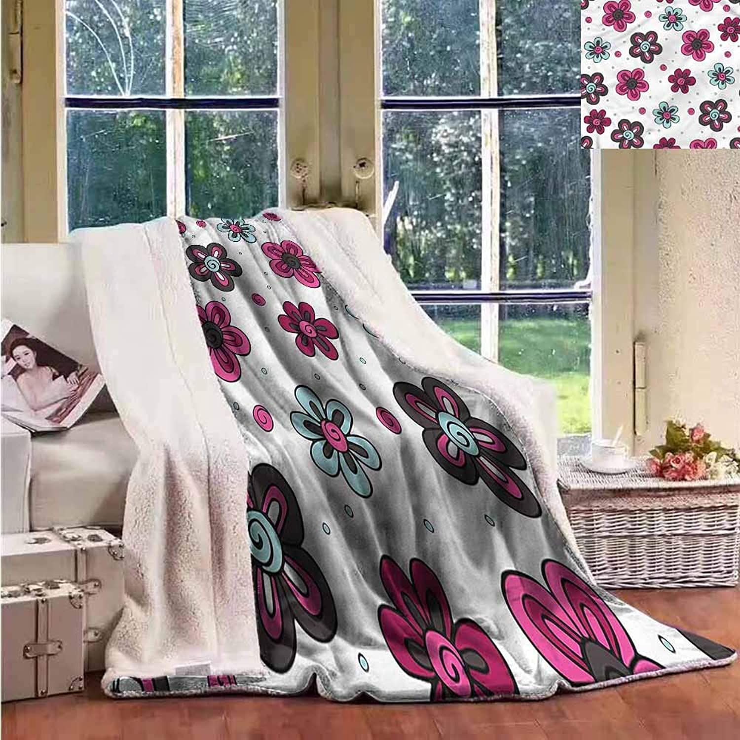Sunnyhome Sherpa Throw Blanket Floral Florets Buds Kids Girls Upgraded Thick Lazy Blanket W59x31L