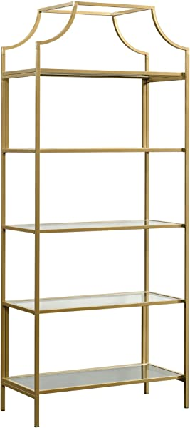 Sauder 421434 International Lux Bookcase Satin Gold Finish