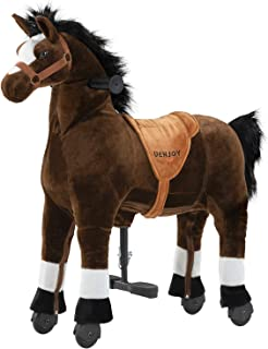 Uenjoy Riding Horse for Kids, Ride on Horse Toy, Pony Rider Mechanical Cycle Walking Action Plush Animal for 4 to 9 Years, Giddy up, No Battery or Electricity,Max Load 165 LBS, Medium Size, Chocolate
