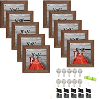 Art Street Set of 10 Individual Wall Photo Frame Brown 8x8 Inches, with Free Hanging Accessories