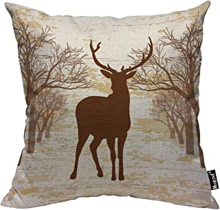 Mugod Deer Decorative Throw Pillow Cover Case Vintage Animal Moose Elk Antler Horn Tree Nature Wildlife Brown Cotton Linen Pillow Cases Square Standard Cushion Covers for Couch Sofa Bed 18x18 Inch