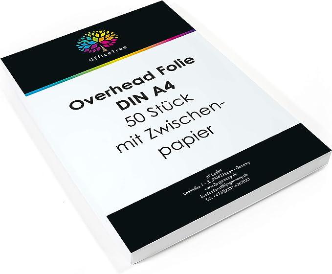 1135 opinioni per OfficeTree® 50 fogli lucidi per lavagna luminosa di alta qualità- DIN A4