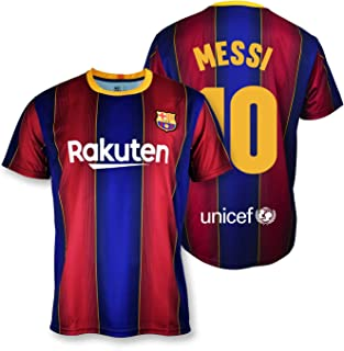 T-shirt replica FC Barcelona 1. EQ seizoen 2020-21 - gelicentieerd product - achterkant 10 Messi - 100% polyester - maat