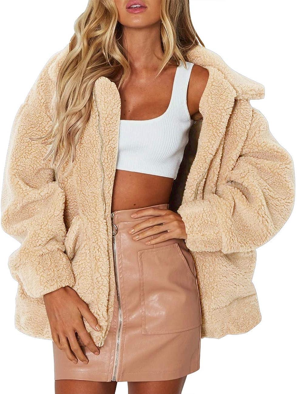 MEROKEETY Womens Long Sleeve Lapel Fuzzy Faux Shearling Coat Zipper Oversized Teddy Jacket with Pockets