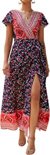 Unifizz Women's Floral Boho V Neck Short Sleeve Wrap Split Maxi Dress
