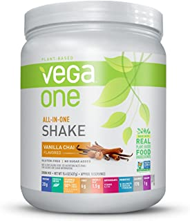 Vega One All-In-One Nutritional Shake Vanilla Chai (10 Servings) - Plant Based Vegan Protein Powder, Non Dairy, Gluten Free, Non GMO, 15.4 Ounce (Pack of 1)