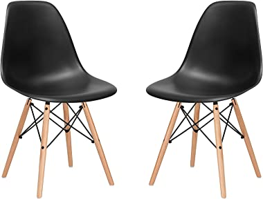 nufurn Eames Style Designer Black Dining/Living Room Chair -Set of 2