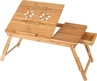 comprar comparacion HOMFA Mesa para Ordenador portátil Mesa de cama Bambú Mesa auxiliar con cajón lateral 55x35x(22-30)cm