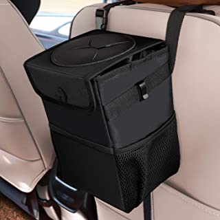 Car Trash Cans with Lid, Multipurpose Garbage Bag and 3 Storage Pockets, Portable Accessories/Toy/Car Organizer, 100% Wate...