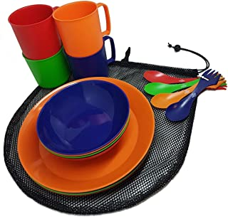 Camping Mess Kit 4 Person Dinnerware Set with Mesh Bag - Complete Dish Set Includes Plates, Bowls, Cups and Sporks - Perfe...