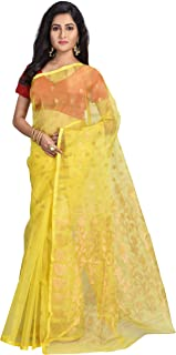 Ruprekha Fashion Women's Yellow Colour Art Silk Muslin Handloom Saree from Bengal