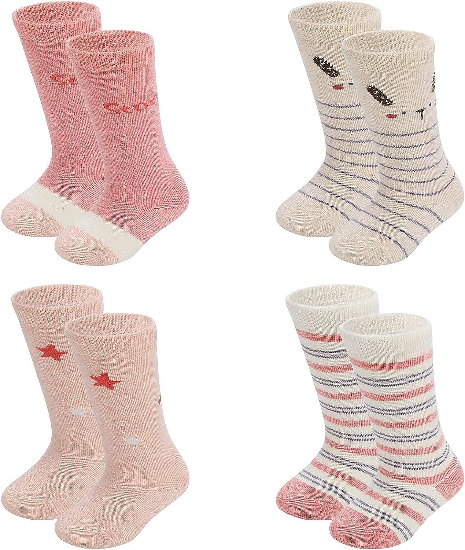 Baby 4 Pack essentials 12-24 months long tube calf knee high socks 0-12months socks for Kids gift set ,Unisex,Girls,Boys