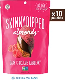 Skinny Dipped, Dark Chocolate Raspberry Covered Almonds, Low Calorie Snack, Low Sugar, 3.5 Ounce Resealable Bag, Pack of 10