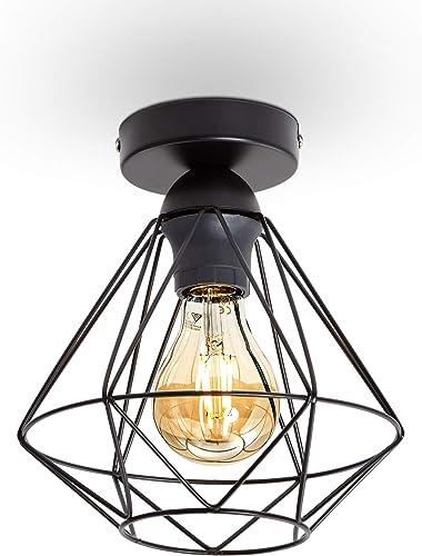 B.K.Licht plafonnier design rétro, éclairage plafond moderne, style industriel vintage, métal noir, Ø220mm, pour ampo...