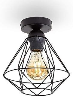 B.K.Licht plafonnier design rétro, éclairage plafond moderne, style industriel vintage, métal noir, Ø220mm, pour ampoules ...