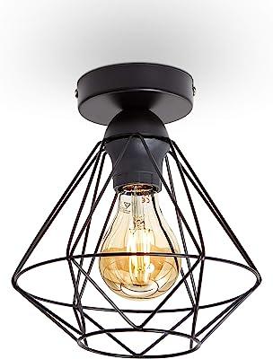 B.K.Licht plafonnier design rétro, éclairage plafond moderne, style industriel vintage, métal noir, Ø220mm, pour ampoules E27 max. 40W, hauteur 240cm