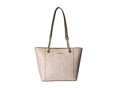 Calvin Klein Monogram East/West Tote (Sand Multi) Tote Handbags