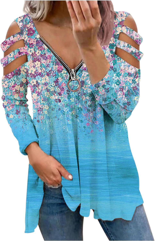 POLLYANNA KEONG Long Sleeve Blouses for Women Casual,Women Long Sleeve Zipper Front Cutout Cold Shoulder Vintage Blouse