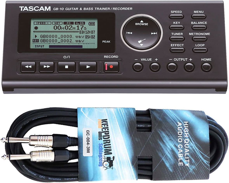 Tascam GB-10 Trainer - Grabadora para guitarra y bajo (incluye cable jack de 3 m)