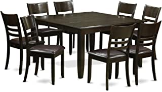 East West Furniture PFLY9-CAP-LC 9 Pc Dining Room Set-Dinette Table with Leaf and 8 Kitchen Chairs, 9-Piece, Cappuccino Finish