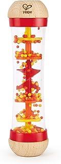 قطرات المطر المزيّنة بالخرز من هيب | آلة موسيقية خشبية صغيرة للأطفال الصغار، لعبة شيك اند راتل رينميكر، أحمر، طول: 2، العر...