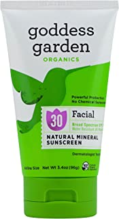 Goddess Garden - Facial SPF 30 Mineral Sunscreen Lotion - Sensitive Skin, Reef Safe, Sheer Zinc, Water Resistant, Vegan, Leaping Bunny Certified Cruelty-Free, Non-Nano - Travel Size 3.4 oz Tube