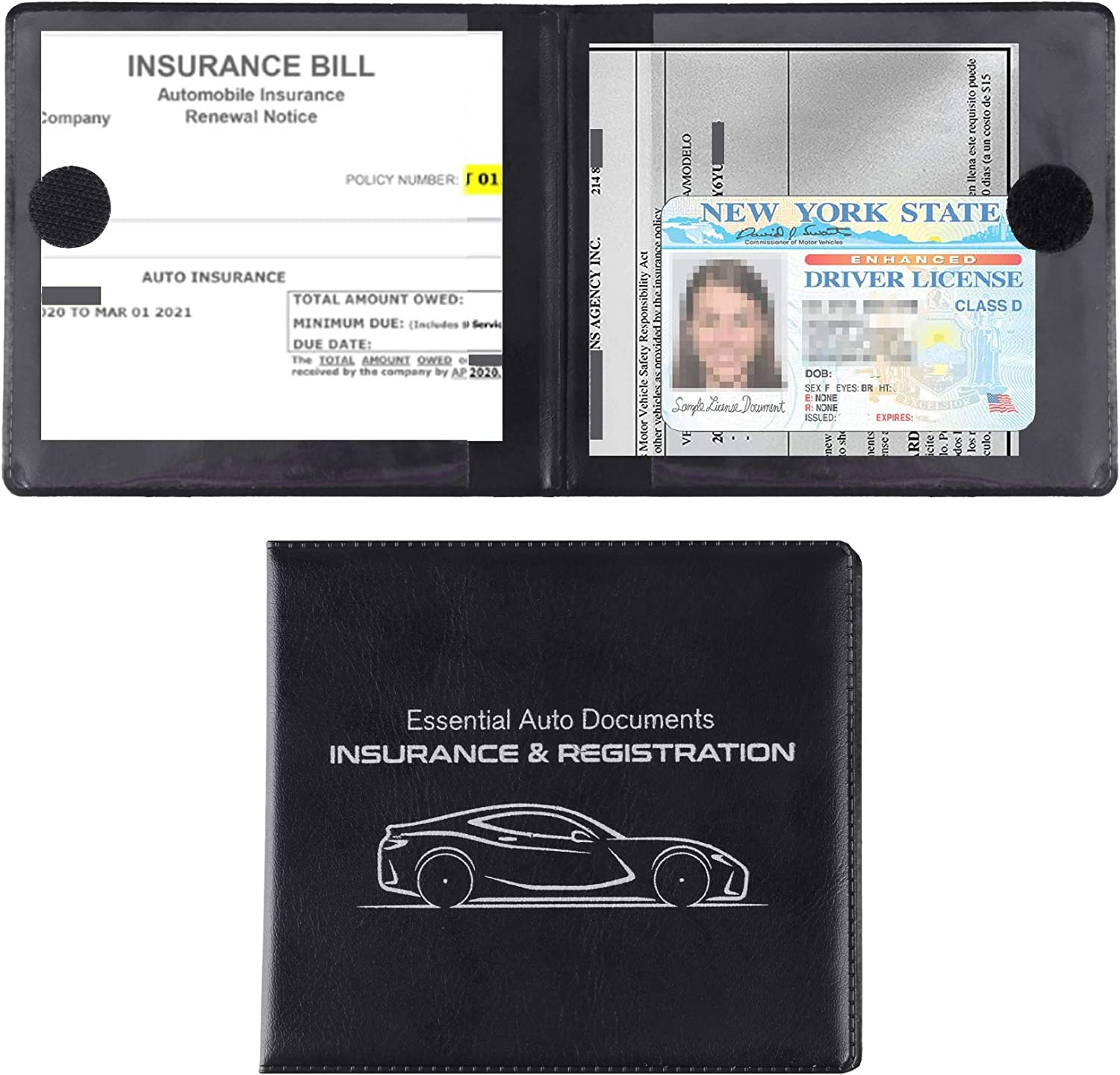 MICUB Auto Car Essential,Car Registration and Insurance Card Documents Holder 2-Pack,For Car,Truck,SUV and Other Vehicle,Case Wallet for Car Documents Organizer(Black)