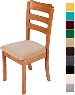 smiry Original Velvet Dining Chair Seat Covers, Stretch Fitted Dining Room Upholstered Chair Seat Cushion Cover, Removable Washable Furniture Protector Slipcovers with Ties - Set of 6, Beige