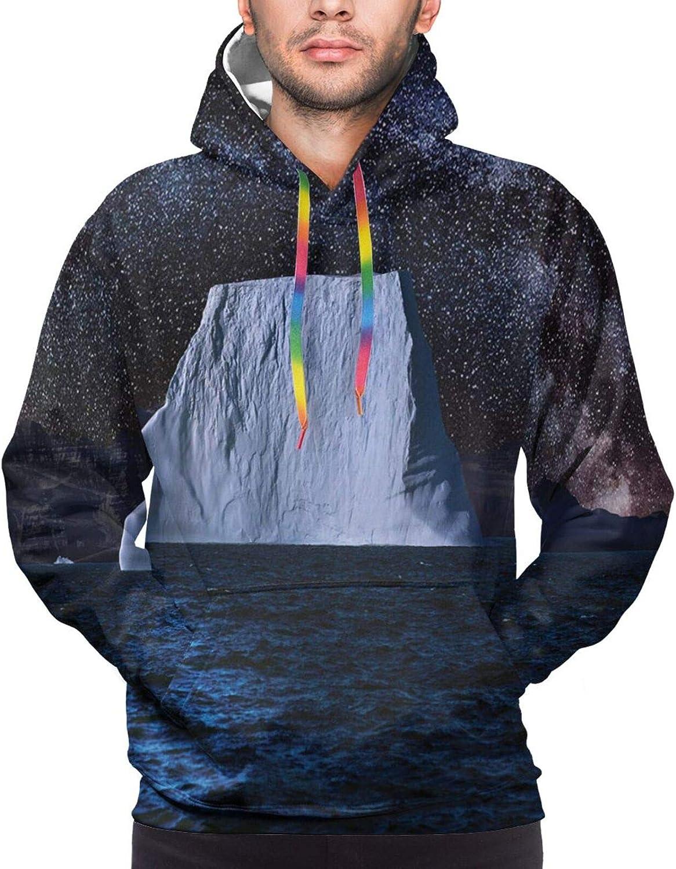 Men's Hoodies Sweatshirts,Iceberg Water Starry Night Sky Full Moon Reflection