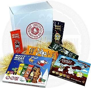 Moo Free Chocolate Christmas Gift Card – New for 2016 – Merry Moos Selection Pack, Choccy Chumbs, Cheeky Monkey Orange Bar, Bunnycomb Bar, Minty Moo Bar, and Organic Santa Bar - By Moreton Gifts