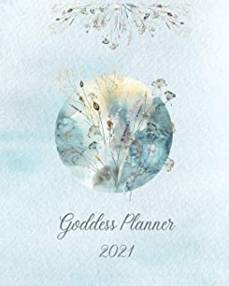 """2021 Goddess Planner - Weekly, Monthly 8"""" x"""" 10"""" with Moon Calendar, Journal, To-Do Lists, Self-Care and Habit Tracker: In..."""