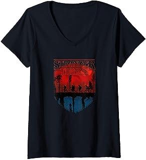 Femme Stranger Things Group Shot Mindflayer Trail Silhouettes T-Shirt avec Col en V