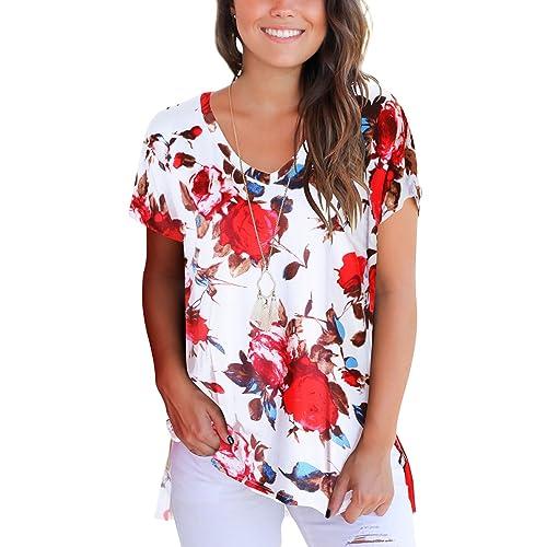 ed8daf578164c3 Dasbayla Women s Solid Loose Short Sleeve V Neck T-Shirt Top Side Split  High Low