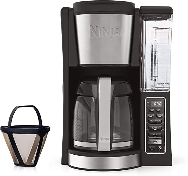 Ninja 12 Cup Programmable Coffee Maker With Classic And Rich Brews 60 Oz Water Reservoir And Thermal Flavor Extraction CE201 Black Stainless Steel