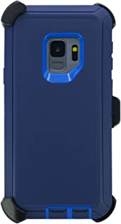 """WallSkiN Turtle Series Holster Case for Galaxy S9 (5.8""""), 3-Layer Full Body Life-Time Protection, Protective Heavy Duty & Carrying Belt Clip - Navy Blue/Blue"""