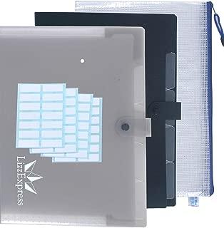 Plastic Expanding File Folder Organizer | File Folders Organizer for Paper with 5 Pockets Plastic File Folders Filing Organizer by Lizz Express