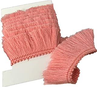 YEQIN 25mm Wide Cotton Fringe Tassel Trim 5 Yards (pink)